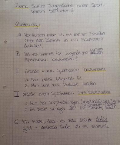 gliederung schule sport deutsch errterung - Erorterung Gliederung Beispiel