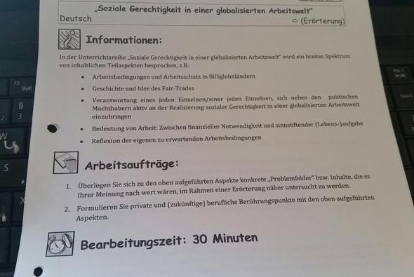 arbeitsblatt schule deutsch hausaufgaben - Erorterung Englisch Beispiel
