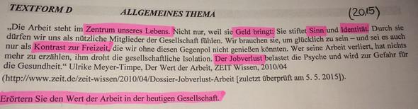 Aufgabenstellung - (Arbeit, deutsch, Text)