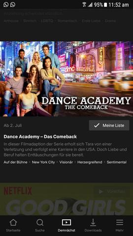 es hieß dass ab heute dance academy - das comeback auf netflix veröffentlicht werden sollte. aber warum seh ich es dann nicht?