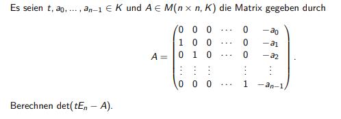 Es seien \( t, a_{0}, \ldots, a_{n-1} \in K \) und \( A \in M(n \times n, K) \) die Matrix gegeben durch?
