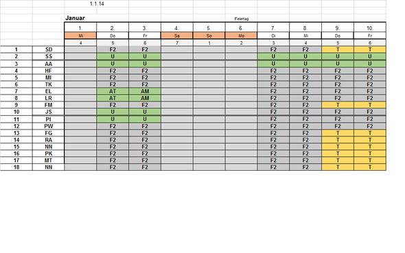 Dienstplan - (Excel, Arbeitsblatt)
