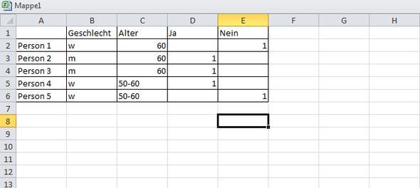 Screenshot (das Alter/Geschlecht bzw. die Ja/Nein Frage muss vorkommen!) - (Excel, Diagramm)