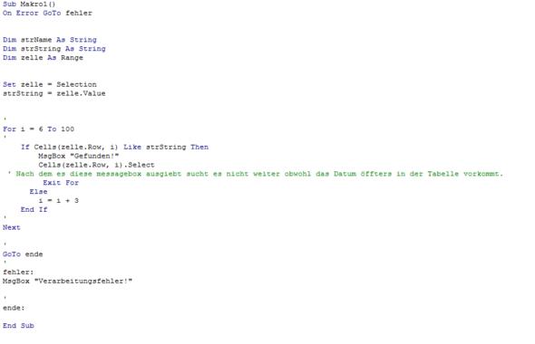 Mein Programmcode als Screen - (suche , Excel, VBA)