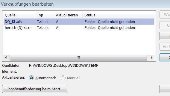 Bild 1 - (Verknüpfung, Excel 2010, Windows 07)