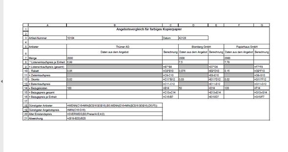 Excel Angebotsvergleich Formel Wenn Min Funktion Computer Schule