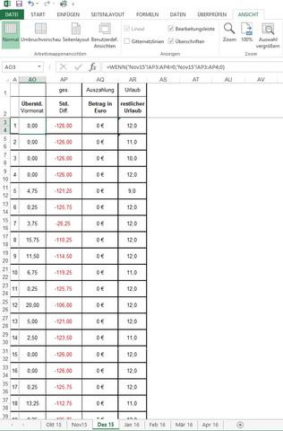 Tabellenausschnitt mit Formel - (Excel, Office, Formel)