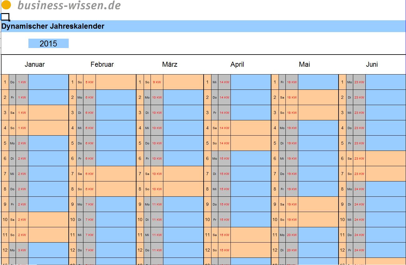 Excel dynamischer Jahrsakalender? (Kalender)