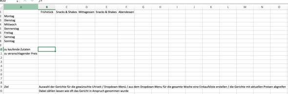 Erstes Tabellenblatt - (Excel, einkaufen, Plan)