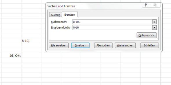 Problem Screenshot - (Excel, Datum, Autokorrektur)
