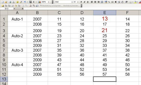 Registerblatt 1 mit Beispieldaten im Bereich A1 - F12 - (Excel, Daten, Matrix)