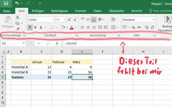 Excel für Mac - Teil der Menüleiste fehlt?