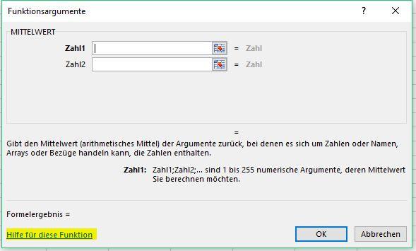 Funktionsargumente-Dialog - (Excel)