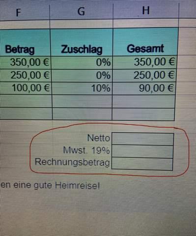 Excel Netto, Mwst. 19%, Rechnungsbetrag?