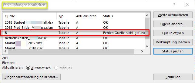 Excel verknüpfungen finden