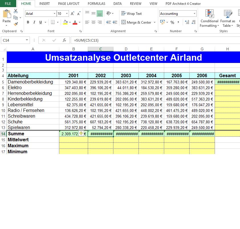 Excel zeigt beim Endergebnis nur Rauten an? (Microsoft)