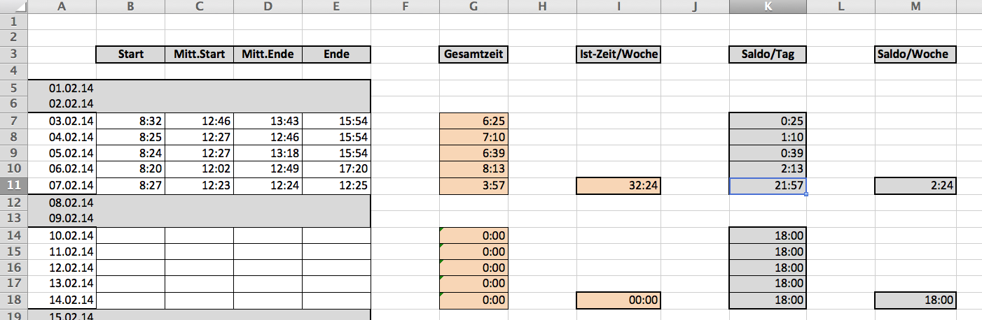 Excel Zeiterfassung-Rechnen mit Stunden für wöchentliche