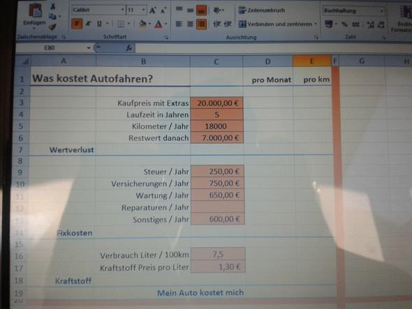 Exel Aufgabe - (Computer, Excel)