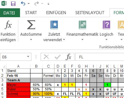 Tabellseite Übersicht - (Excel, Tabelle)