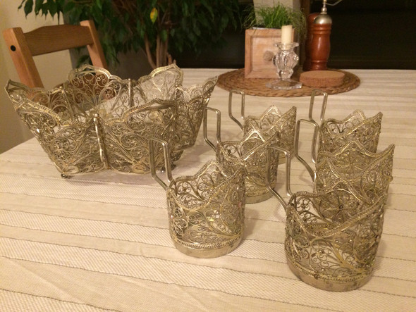Korb und 6 Teeglashalter einzeln - (Kunst, Russland, Antiquitäten)