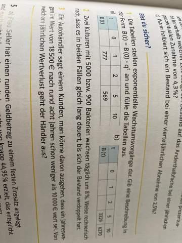 Exponentielle Wachstumsvorgänge Tabelle?