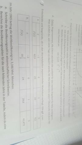 Exponentielles Wachstum bestimmen anhand einer Tabelle Aufgabe3? (Mathe)