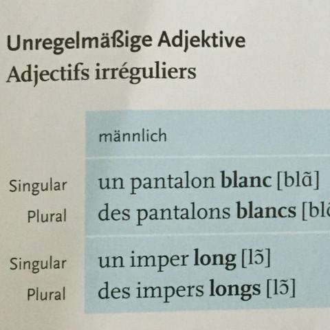Unregelmäßige Adjektive (männlich) - (Schule, Lehrer, franzoesisch)