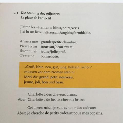 Die Stellung des Adjektivs - (Schule, Lehrer, franzoesisch)
