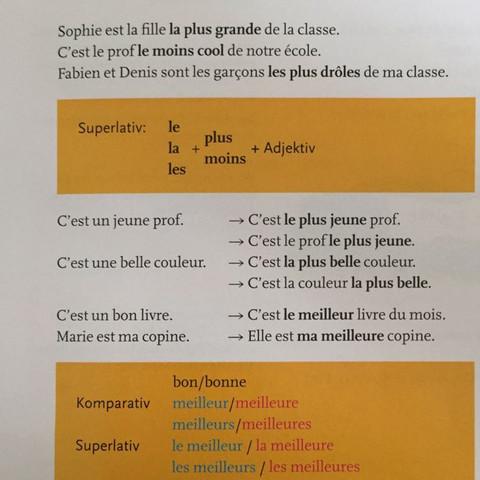 Der Superlativ des Adjektivs - (Schule, Lehrer, franzoesisch)