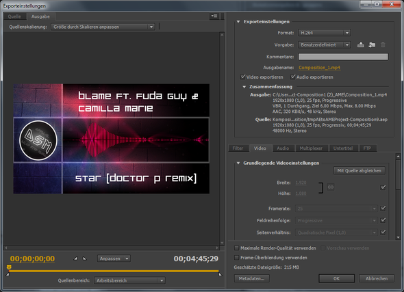 Die einstellungen in Media Encoder - (Adobe, after-effects, rendern)