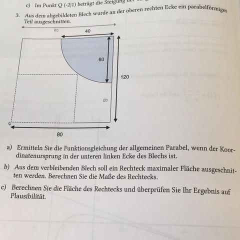 Aufgabenstellung  - (Schule, Mathematik, Extremwertaufgaben)