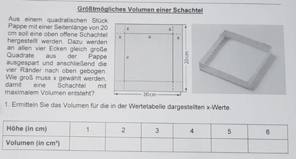 Extremwertaufgaben (Größtmögliches Volumen einer Schachtel)?