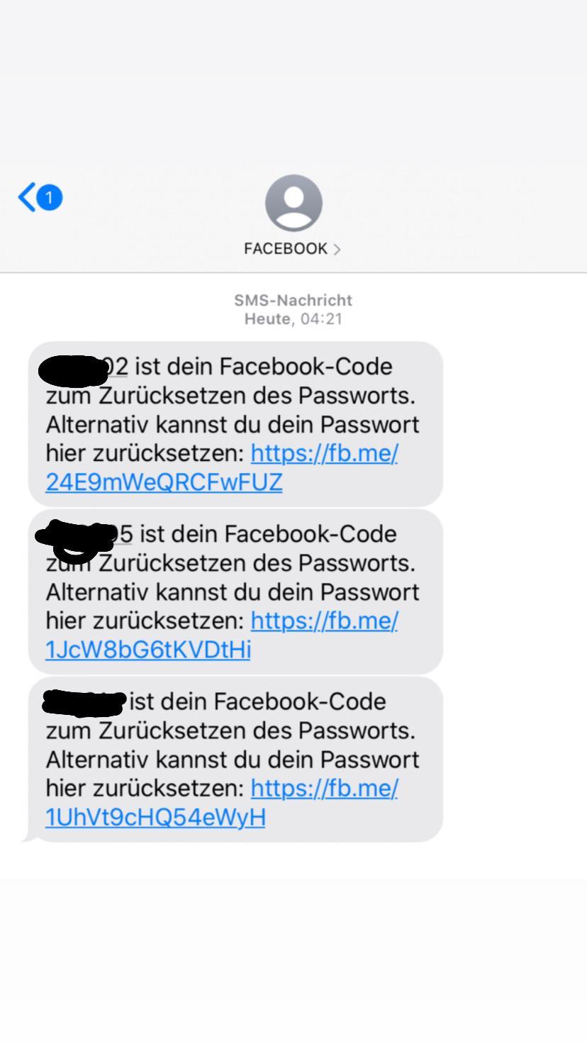 Facebook - ich bekomme per SMS Code zum Passwort