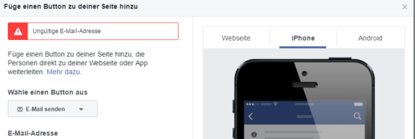 Screenshot zum Fehler - (Internet, Facebook, Website)