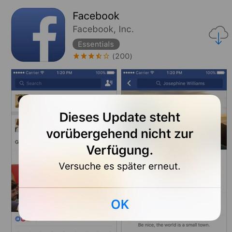 facebook l sst sich nicht mehr herunterladen ios handy iphone smartphone. Black Bedroom Furniture Sets. Home Design Ideas