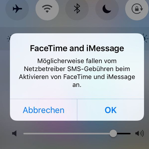 FaceTime and iMessage Warnhinweise ohne Kontext?