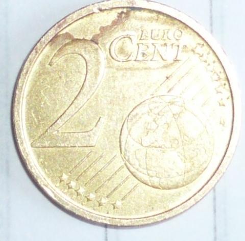 Fälschung Oder Fehlprägung 2 Cent Münze Geld Fehler Sammeln