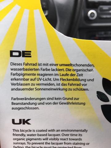 Fahrrad ausgeblichen, keine Garantierecht vom Hersteller ?
