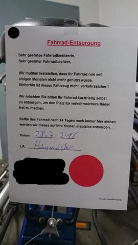 Zettel am Rad - (Wohnung, Mietrecht)