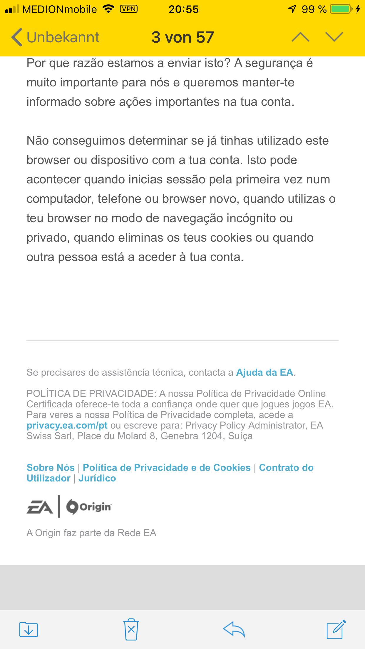 Fake E-Mail von EA? (Phishing Mail)