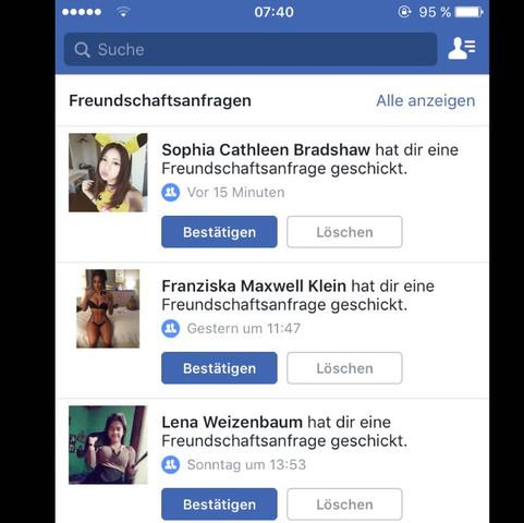 Beispiele - (Facebook, Anfrage freundschaftsanfrage)