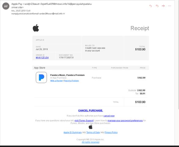 Fake Mail von Apple? (Computer, apple-store)