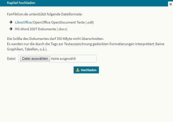 Fanfihtion.de - (Datei, hochladen, Fanfiction)