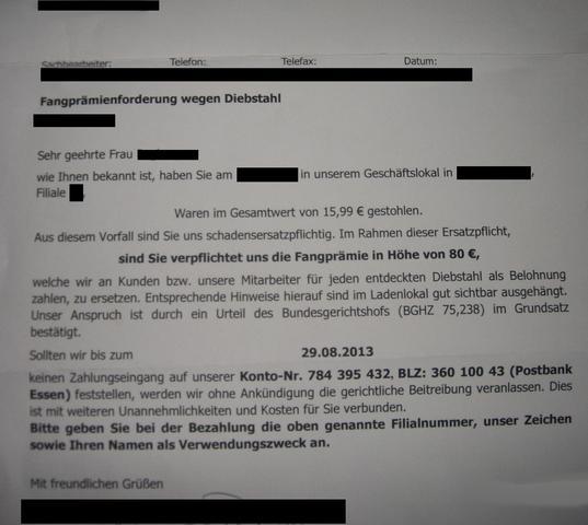 Brief  - (Freizeit, Schadensersatz, Drohung)