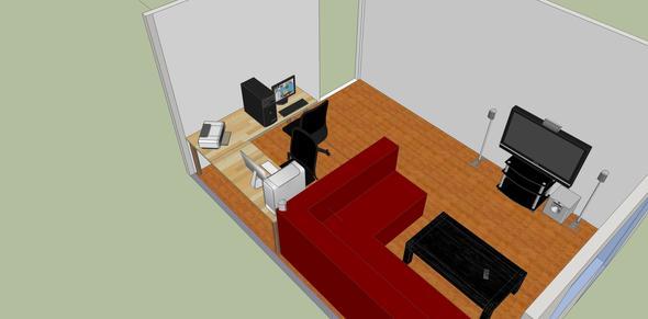 Wohnzimmer, Oben Links Der Schreibtisch   (Schreibtisch, Selbstbau,  Arbeitsplatte)