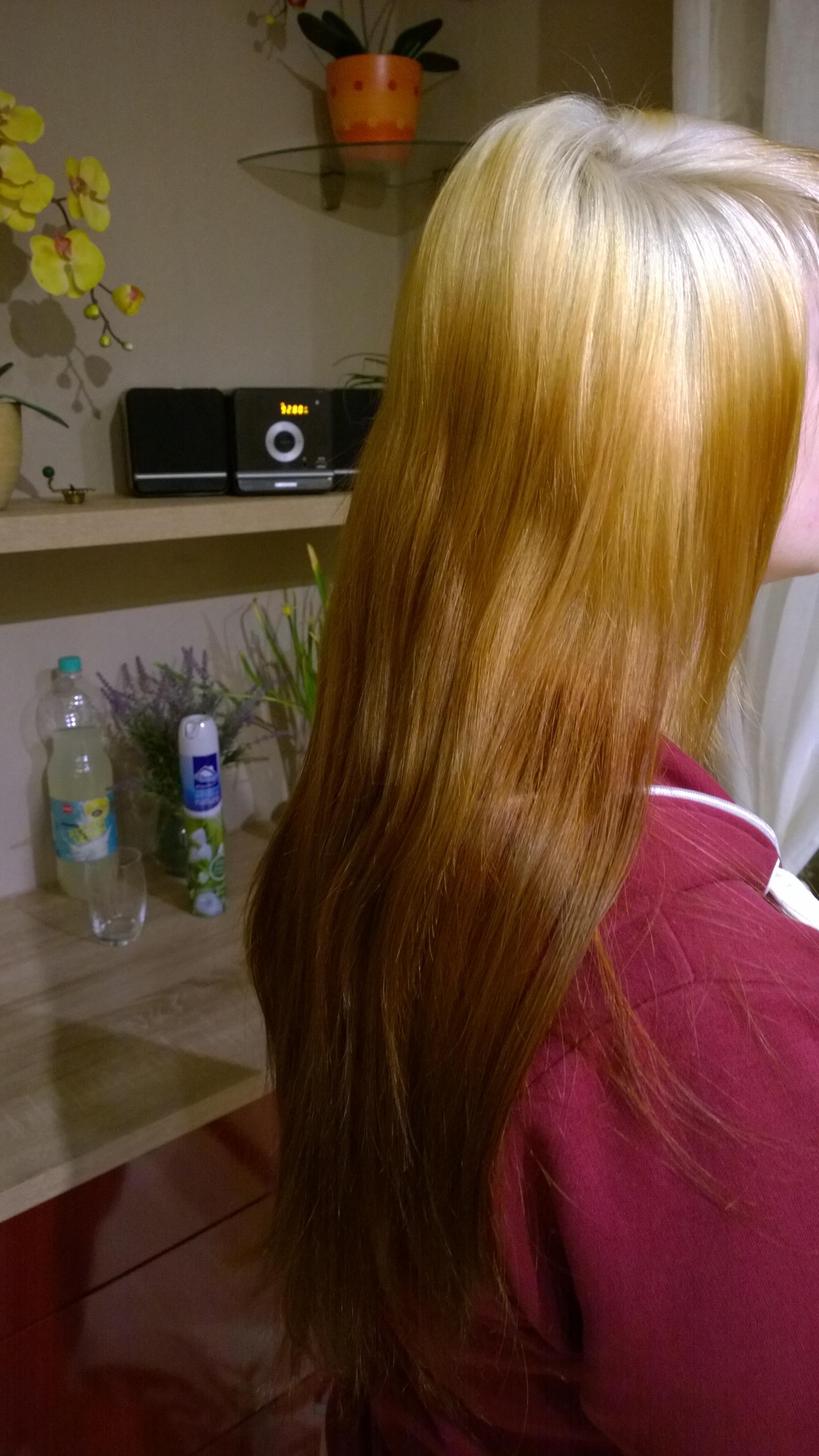 FARBUNFALL! orange - braune haare durch blondieren