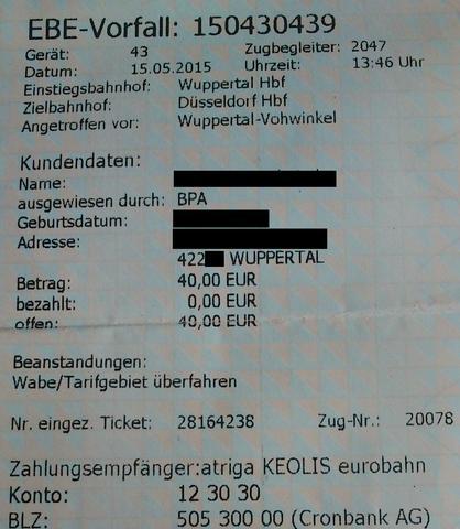 Ticket  - (Recht, Bahn, Kontrolle)