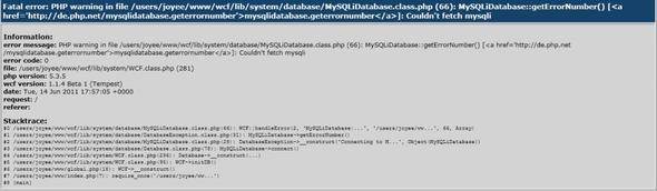 fatal error - (Internet, Server, Homepage)