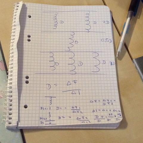 Das obere ist die skizze von der ich die Federkonstante berechnen muss - (Schule, Physik, Federkonstante)