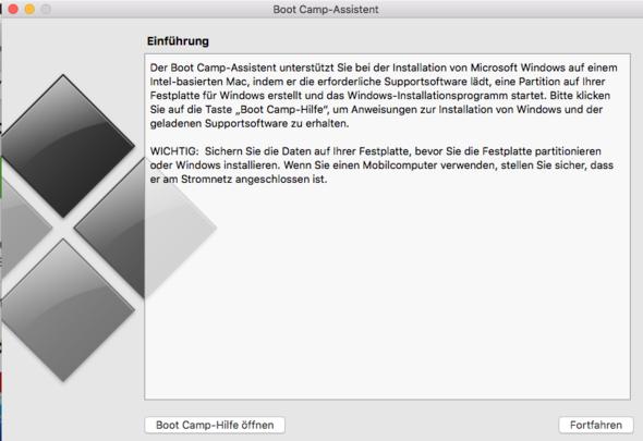 Screenshot von der Fehlermeldung - (Windows, Bootcamp)